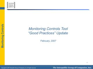 "Monitoring Controls Tool ""Good Practices"" Update  February, 2007"