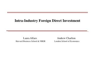 Intra-Industry Foreign Direct Investment