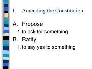 I.	 Amending the Constitution