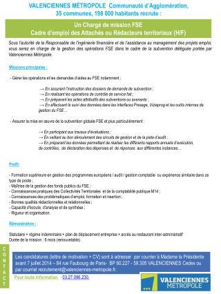 Un Chargé de mission FSE Cadre d'emploi des Attachés ou Rédacteurs territoriaux ( H/F )