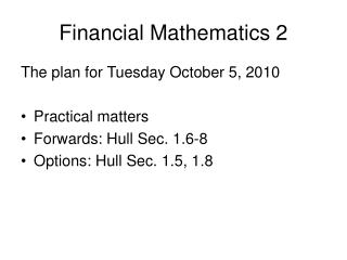 Financial Mathematics 2