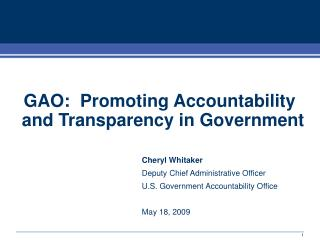 GAO:  Promoting Accountability and Transparency in Government Cheryl Whitaker