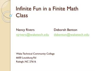 Infinite Fun in a Finite Math Class