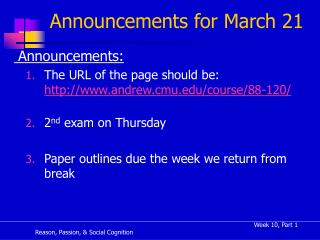 Announcements for March 21