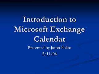 Introduction to Microsoft Exchange Calendar