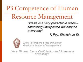 P3:Competence of Human Resource Management