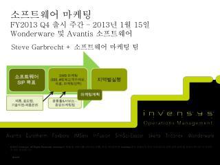 소프트웨어 마케팅 FY2013 Q4  출시 주간  – 2013 년  1 월  15 일 Wonderware 및  Avantis 소프트웨어
