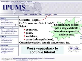 "Get data:  Login  Or ""Browse and Select Data"". Select:    ►  countries,   ►  years,"