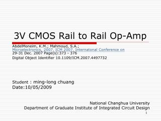 3V CMOS Rail to Rail Op-Amp