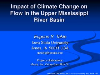 Impact of Climate Change on Flow in the Upper Mississippi River Basin