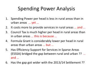 Spending Power Analysis