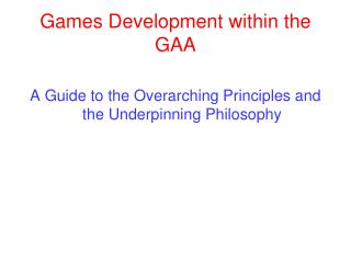 Games Development within the GAA