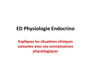 ED Physiologie Endocrino