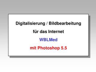 Digitalisierung / Bildbearbeitung für das Internet WBLMed mit Photoshop 5.5