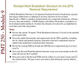 Revised Work Breakdown Structure for the GPS Receiver Requirement