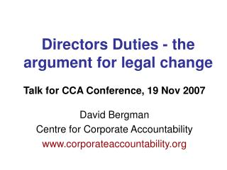 Directors Duties - the argument for legal change