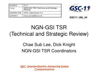 NGN-GSI TSR (Technical and Strategic Review)