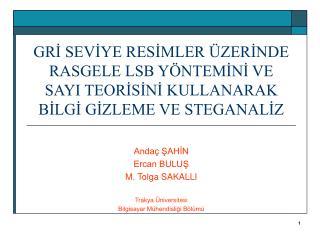 Andaç ŞAHİN Ercan BULUŞ M. Tolga SAKALLI Trakya Üniversitesi Bilgisayar Mühendisliği Bölümü