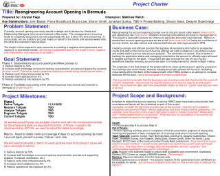 Title:  Reengineering Account Opening in Bermuda