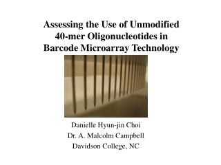 Assessing the Use of Unmodified 40-mer Oligonucleotides in Barcode Microarray Technology