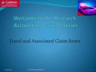 Welcome to the Research         Accounting Training Series