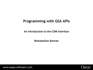 Programming with GSA APIs
