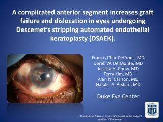 A complicated anterior segment increases graft failure and dislocation in eyes undergoing Descemet s stripping automated