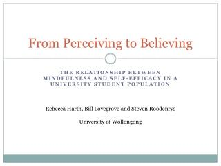 From Perceiving to Believing