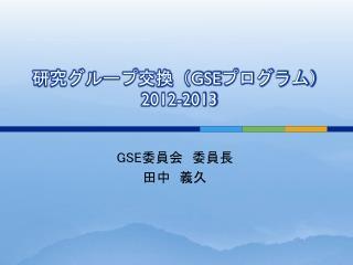 研究グループ交換( GSE プログラム) 2012-2013