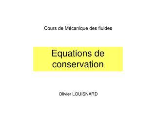Equations de  conservation