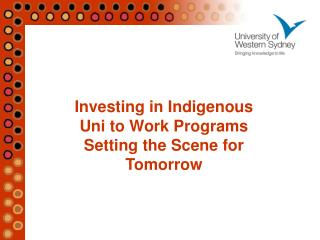 Investing in Indigenous  Uni to Work Programs  Setting the Scene for Tomorrow