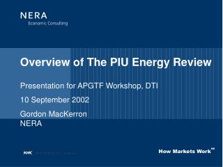 Overview of The PIU Energy Review