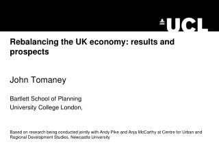 Rebalancing the UK economy: results and prospects