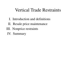 Vertical Trade Restraints