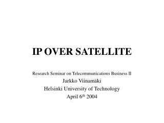 IP OVER SATELLITE