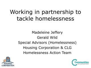 Working in partnership to tackle homelessness