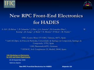 New RPC Front-End Electronics for HADES