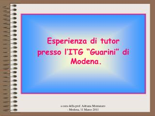 """Esperienza di tutor presso l'ITG """"Guarini"""" di  Modena."""