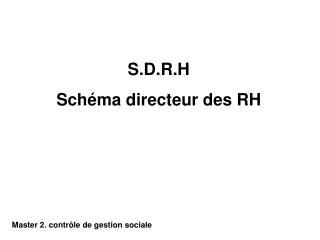 S.D.R.H Schéma directeur des RH