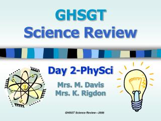 GHSGT  Science Review