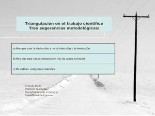 Triangulación en el trabajo científico Tres sugerencias metodológicas: