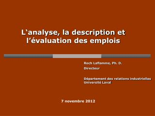 L�analyse, la description et  l��valuation des emplois