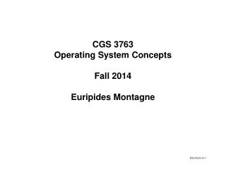 CGS 3763 Operating System Concepts Fall 2014 Euripides Montagne