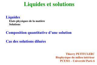 Liquides et solutions