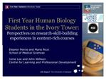 First Year Human Biology Students in the Ivory Tower: Perspectives on research-skill-building  experiences in content-ri