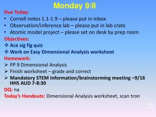 D ue Today:  Cornell notes 1.1-1.9 – please put in inbox