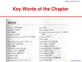 Key Words of the Chapter