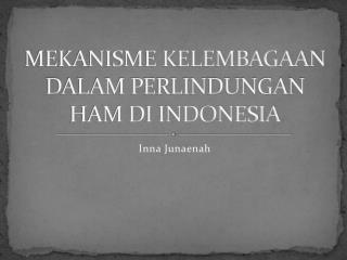 MEKANISME KELEMBAGAAN DALAM PERLINDUNGAN HAM DI INDONESIA
