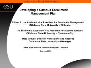 Developing a Campus Enrollment Management Plan