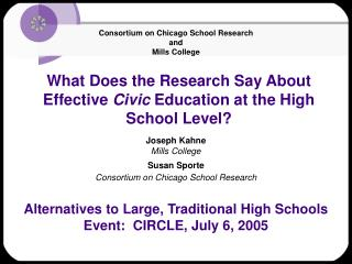 What Does the Research Say About Effective  Civic  Education at the High School Level?